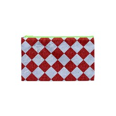 Square2 White Marble & Red Denim Cosmetic Bag (xs) by trendistuff