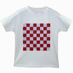 Square1 White Marble & Red Denim Kids White T Shirts