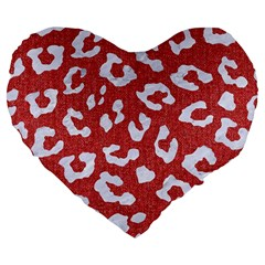 Skin5 White Marble & Red Denim (r) Large 19  Premium Flano Heart Shape Cushions by trendistuff