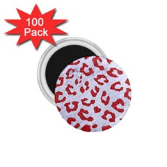 Skin5 White Marble & Red Denim 1 75  Magnets (100 Pack)  by trendistuff