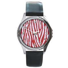 Skin4 White Marble & Red Denim (r) Round Metal Watch by trendistuff