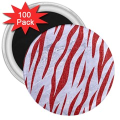 Skin3 White Marble & Red Denim (r) 3  Magnets (100 Pack) by trendistuff