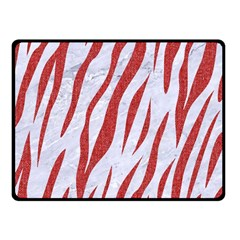 Skin3 White Marble & Red Denim (r) Double Sided Fleece Blanket (small)  by trendistuff