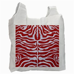 Skin2 White Marble & Red Denim Recycle Bag (two Side)  by trendistuff