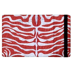 Skin2 White Marble & Red Denim Apple Ipad 2 Flip Case by trendistuff
