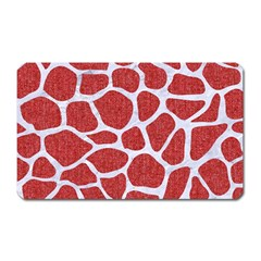 Skin1 White Marble & Red Denim (r) Magnet (rectangular) by trendistuff