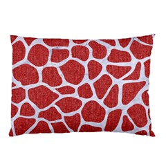Skin1 White Marble & Red Denim (r) Pillow Case by trendistuff