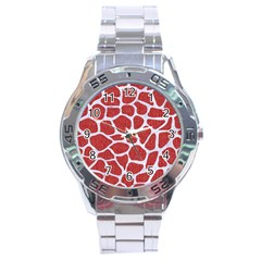 Skin1 White Marble & Red Denim (r) Stainless Steel Analogue Watch by trendistuff