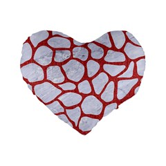 Skin1 White Marble & Red Denim Standard 16  Premium Heart Shape Cushions by trendistuff