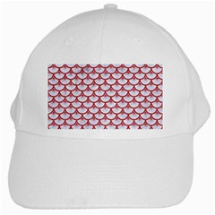 Scales3 White Marble & Red Denim (r) White Cap by trendistuff