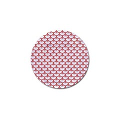 Scales3 White Marble & Red Denim (r) Golf Ball Marker by trendistuff