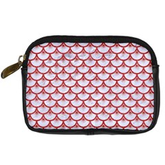 Scales3 White Marble & Red Denim (r) Digital Camera Cases by trendistuff