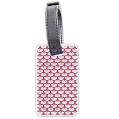 Scales3 White Marble & Red Denim (r) Luggage Tags (two Sides) by trendistuff