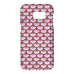 Scales3 White Marble & Red Denim (r) Samsung Galaxy S7 Hardshell Case