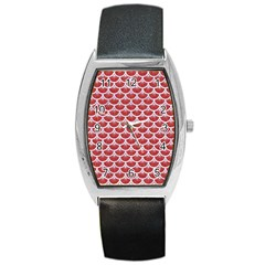 Scales3 White Marble & Red Denim Barrel Style Metal Watch by trendistuff