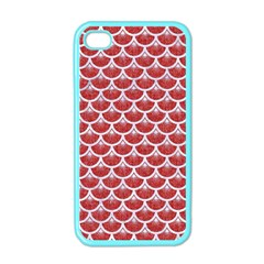Scales3 White Marble & Red Denim Apple Iphone 4 Case (color) by trendistuff