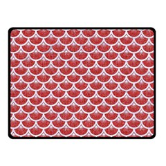 Scales3 White Marble & Red Denim Double Sided Fleece Blanket (small)  by trendistuff