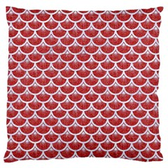 Scales3 White Marble & Red Denim Large Flano Cushion Case (one Side) by trendistuff