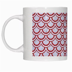 Scales2 White Marble & Red Denim (r) White Mugs by trendistuff
