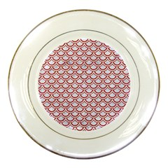 Scales2 White Marble & Red Denim (r) Porcelain Plates by trendistuff