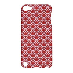 Scales2 White Marble & Red Denim Apple Ipod Touch 5 Hardshell Case by trendistuff