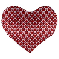 Scales2 White Marble & Red Denim Large 19  Premium Heart Shape Cushions by trendistuff