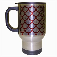 Scales1 White Marble & Red Denim (r) Travel Mug (silver Gray) by trendistuff