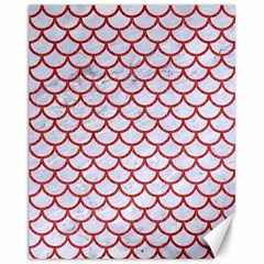Scales1 White Marble & Red Denim (r) Canvas 11  X 14   by trendistuff
