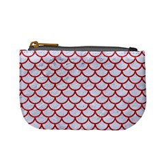 Scales1 White Marble & Red Denim (r) Mini Coin Purses by trendistuff