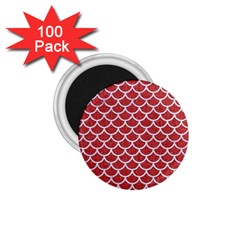 Scales1 White Marble & Red Denim 1 75  Magnets (100 Pack)  by trendistuff
