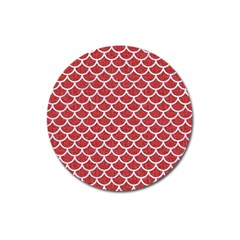 Scales1 White Marble & Red Denim Magnet 3  (round)
