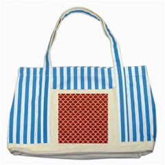 Scales1 White Marble & Red Denim Striped Blue Tote Bag by trendistuff