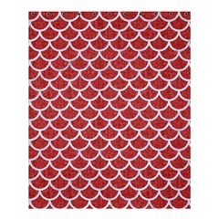 Scales1 White Marble & Red Denim Shower Curtain 60  X 72  (medium)  by trendistuff