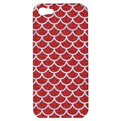 Scales1 White Marble & Red Denim Apple Iphone 5 Hardshell Case by trendistuff