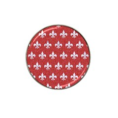 Royal1 White Marble & Red Denim (r) Hat Clip Ball Marker by trendistuff