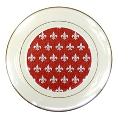 Royal1 White Marble & Red Denim (r) Porcelain Plates by trendistuff