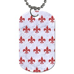 Royal1 White Marble & Red Denim Dog Tag (two Sides) by trendistuff