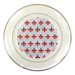 Royal1 White Marble & Red Denim Porcelain Plates by trendistuff