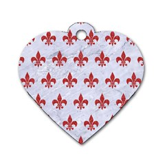 Royal1 White Marble & Red Denim Dog Tag Heart (two Sides) by trendistuff