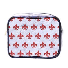 Royal1 White Marble & Red Denim Mini Toiletries Bags by trendistuff
