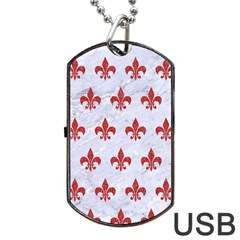 Royal1 White Marble & Red Denim Dog Tag Usb Flash (one Side) by trendistuff