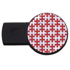 Puzzle1 White Marble & Red Denim Usb Flash Drive Round (2 Gb) by trendistuff
