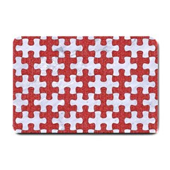Puzzle1 White Marble & Red Denim Small Doormat