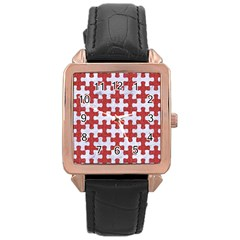 Puzzle1 White Marble & Red Denim Rose Gold Leather Watch  by trendistuff