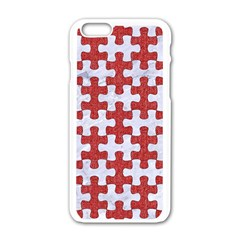 Puzzle1 White Marble & Red Denim Apple Iphone 6/6s White Enamel Case by trendistuff