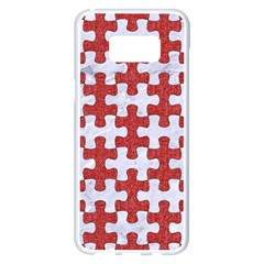 Puzzle1 White Marble & Red Denim Samsung Galaxy S8 Plus White Seamless Case by trendistuff