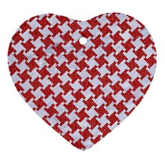 Houndstooth2 White Marble & Red Denim Ornament (heart) by trendistuff