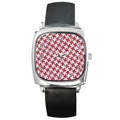 Houndstooth2 White Marble & Red Denim Square Metal Watch by trendistuff