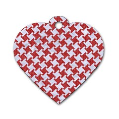 Houndstooth2 White Marble & Red Denim Dog Tag Heart (one Side)