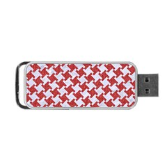 Houndstooth2 White Marble & Red Denim Portable Usb Flash (one Side) by trendistuff